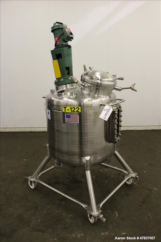 "Used- Precision Stainless Pressure Tank, 250 liter (66 Gallon), 316L Stainless Steel, Vertical. 30"" Diameter x 24"" straight ..."