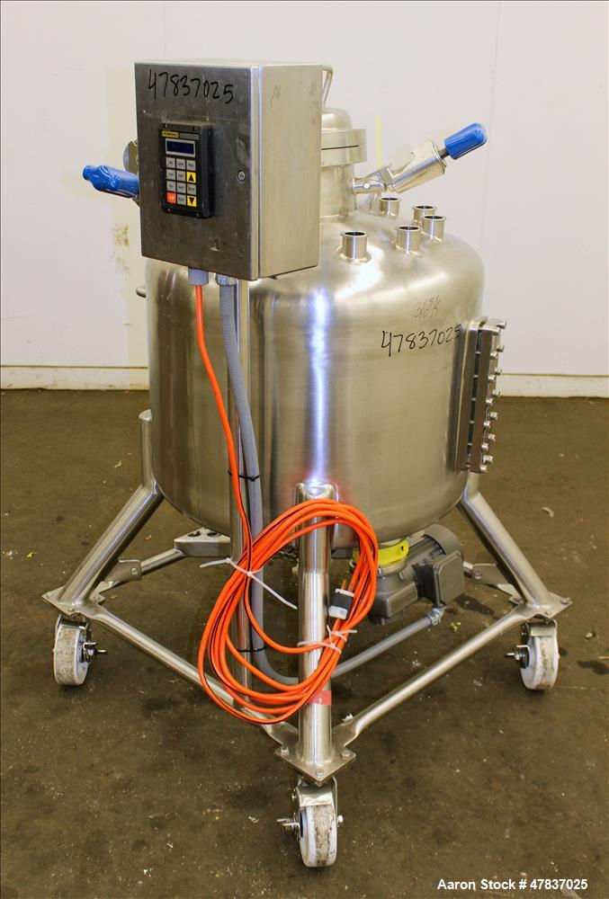 "Used- Pure-Flo Precision Pressure Tank, 150 liter (39 Gallon), 316L Stainless Steel, Vertical. 26"" Diameter x 16"" straight s..."