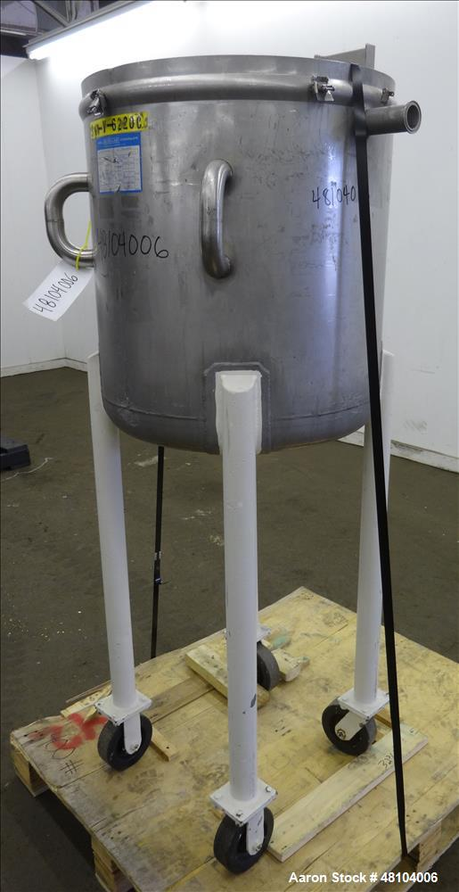 Used- Mueller Tank, Model F, 50 Gallon, 316 Stainless Steel, Vertical.