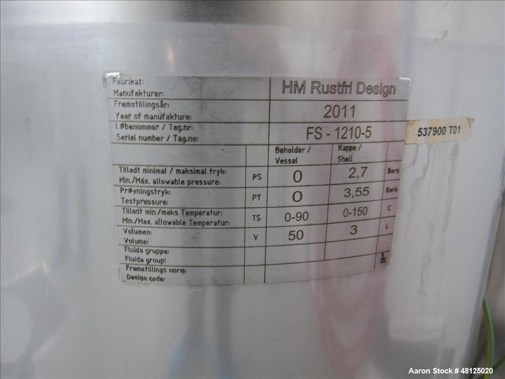 Used-HM Rustfri Design tank combination consisting of (1) HM Rustfri Design jacketed tank,  Stainless steel, working capacit...