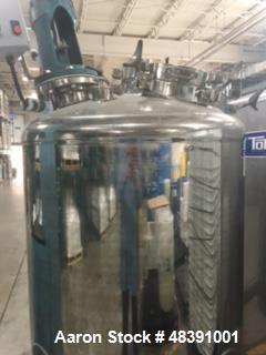 """Used- Lee Industries Polished Pressure Tank, Model 250DBT. 250 gallon, 316 stainless steel, vertical. 40"""" diameter x 42"""" str..."""