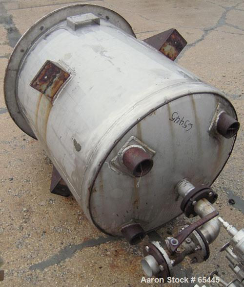 "Used- Phillips Steel Fab Tank, 300 Gallon, 316L Stainless Steel, Vertical. 42"" diameter x 44"" straight side. Dish top and bo..."