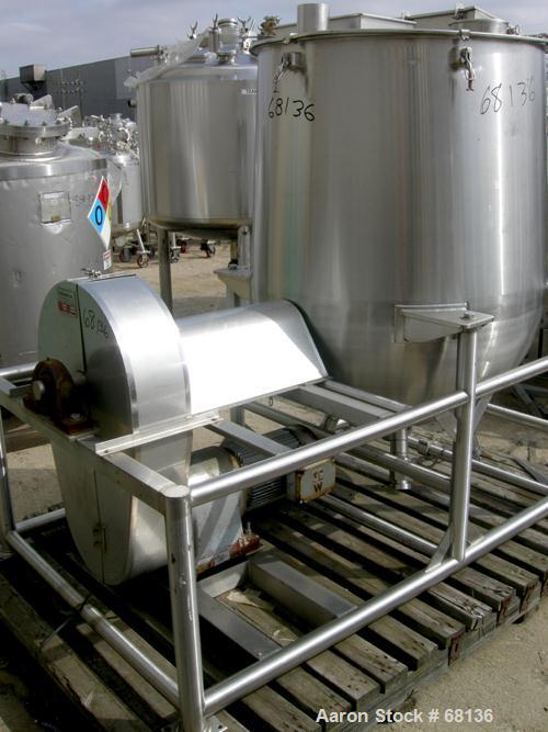 "USED:Technova tank, 200 gallon, 316 stainless steel, model Kraft. 38"" diameter x 32"" straight side x hemi bottom. Flat open ..."
