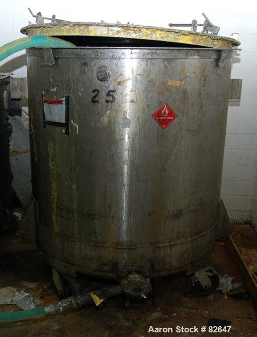 "Used- Tank, 300 Gallon, Stainless Steel, Vertical. 48"" diameter x 48"" straight side. Open top, sloped bottom. Approximately ..."