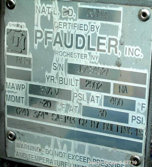 Used- Pfaudler Pressure Tank System Consisting Of: (1) Pfaudler pressure tank, 300 gallon, 316L stainless steel, vertical. 4...