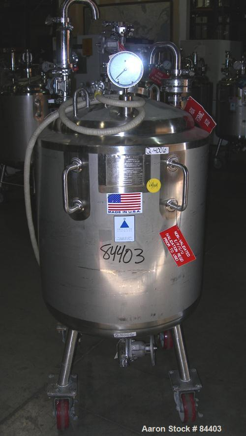"USED: Precision Stainless pressure tank, 53 gallon, 316L stainless steel, polished internal. 24"" diameter x 32"" straight sid..."