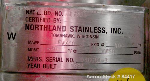 "USED: Northland Stainless pressure tank, 60 gallon, 316 stainless steel, polished internal. 24"" diameter x 32"" straight side..."