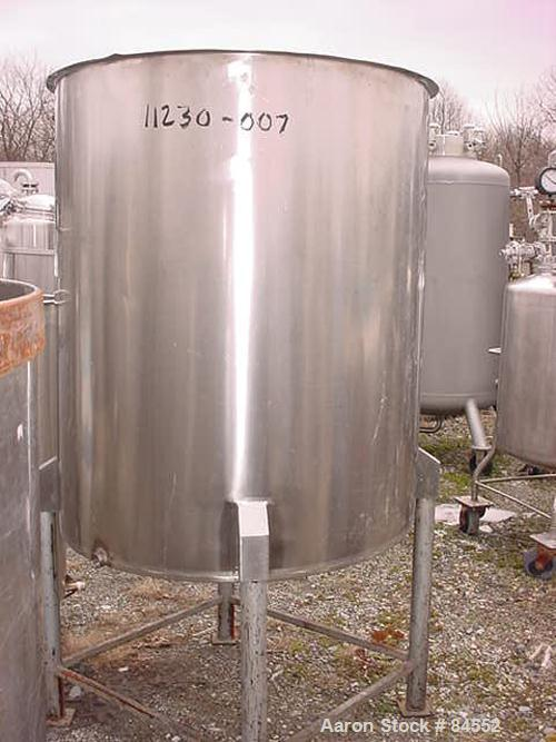 "USED: Tank, 250 gallon, stainless steel, vertical. 40"" diameter x 48"" straight side. Open top, flat bottom. Mounted on four ..."