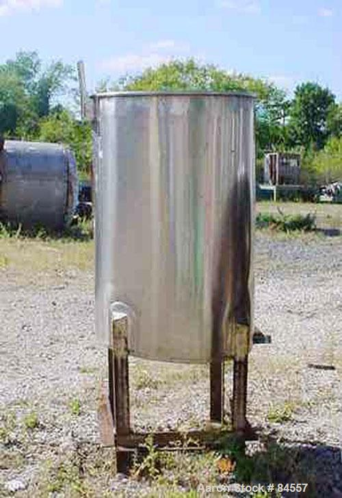 "Used- Tank, 50 Gallon, Stainless Steel, Vertical. 22"" diameter x 34"" straight side. Open top, sloped bottom. Mounted on four..."
