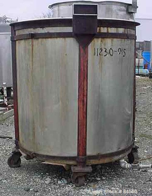 "Used- Tank, 200 Gallon, Stainless Steel, Vertical. 40"" diameter x 42"" straight side. Open top, flat bottom. Mounted on caste..."