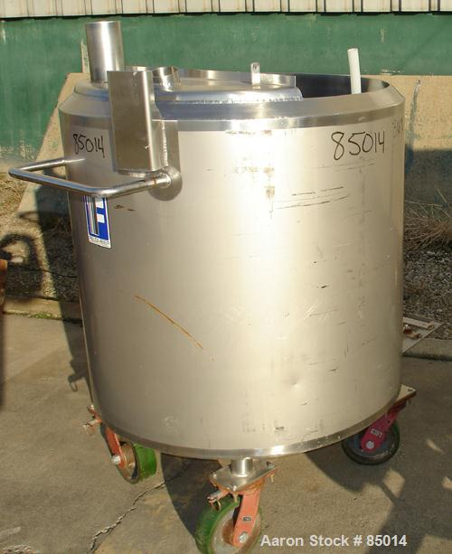 "Used- Feldmeier Tank, 150 Gallon, Jacketed, 316 Stainless Steel. 35-1/2"" diameter x 35-1/2"" straight side. Open top with 1"" ..."