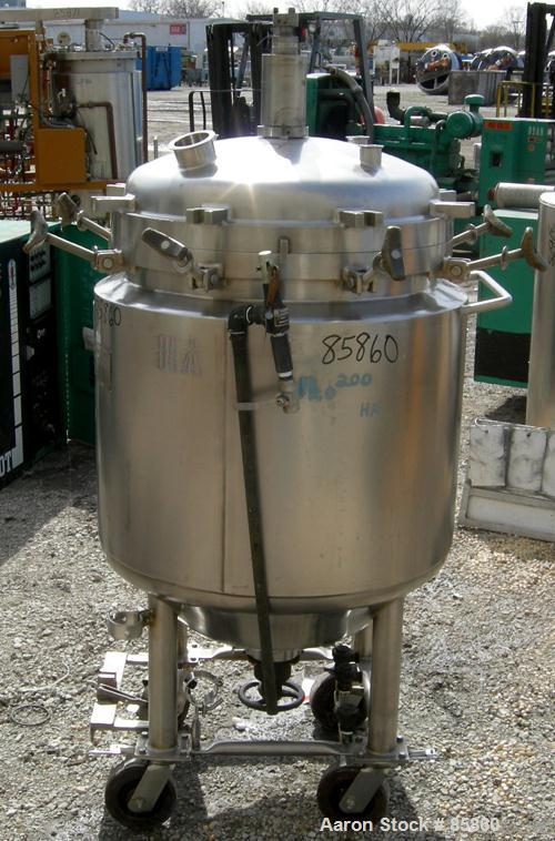 "USED: Precision Stainless reactor, 52 gallon, 316L stainless steel, vertical. 24"" diameter x 24"" straight side x 15"" coned b..."