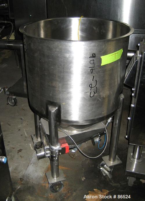"USED: Tank, 35 gallon, stainless steel. 24"" diameter x 18"" straightside. Open top, cone bottom. Mounted on casters."