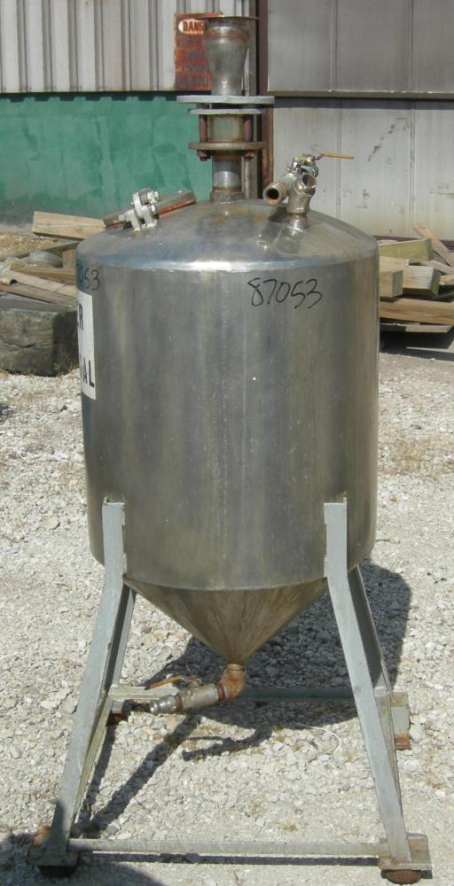 "Used- Tank, 50 Gallon, 316 Stainless Steel, Vertical. 24"" diameter x 24"" straight side. Dished top, 16"" coned bottom. Openin..."