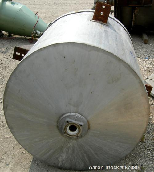 "Used- Tank, 225 gallon, 321 stainless steel, vertical. Approximate 36"" diameter x 46"" straight side. Flat top with a 1/2 hin..."