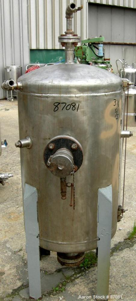 "Used- Tank, 75 Gallon, 316 Stainless Steel, Vertical. 24"" Diameter x 36"" straight side. Dished top and bottom. Openings: top..."