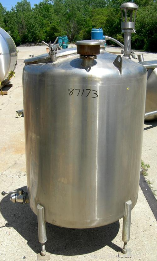 "USED: Precision Stainless Tank, 160 gallon, 316L stainless steel, vertical. 36"" diameter x 44"" straight side. Dish top and s..."