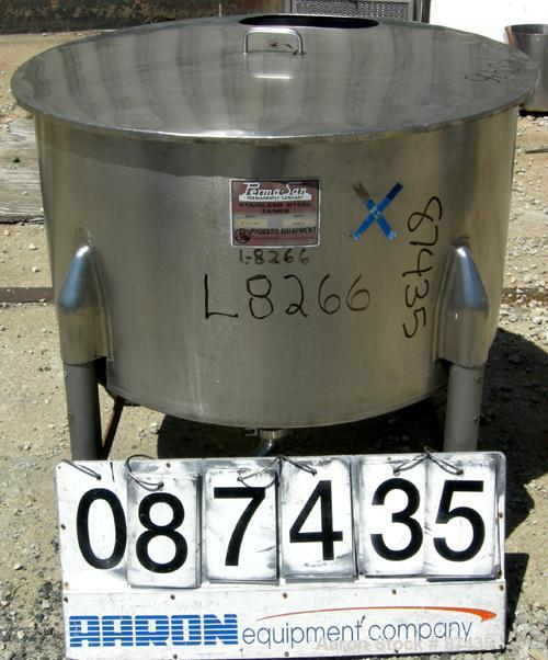 "USED: Perma San tank, 80 gallon, 316 stainless steel, vertical. 36"" diameter x 22"" straight side, open top with 1 piece cove..."