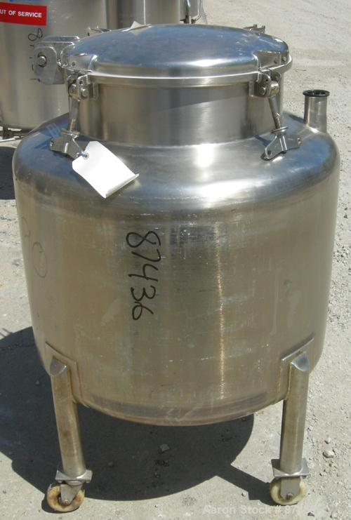 "USED: Perma San tank, 80 gallon, 316 stainless steel, vertical. 32"" diameter x 22"" straight side, dish top and bottom. Openi..."