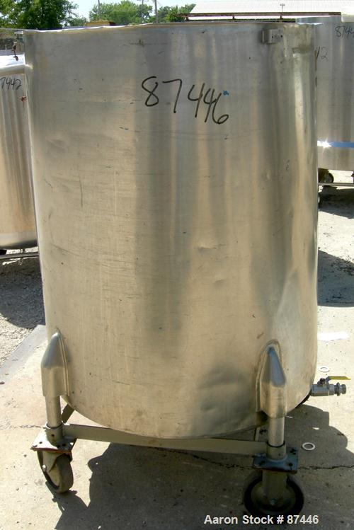 "Used- Perma-San Tank, 226 Gallon, 316 Stainless Steel, Vertical. 38"" Diameter x 47"" straight side, open top, no cover, slope..."