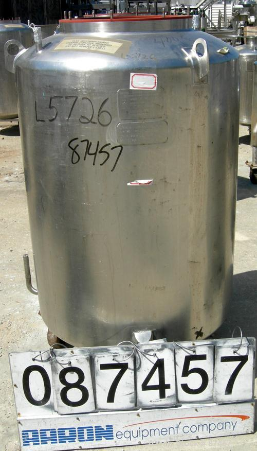 "USED: Walker Stainless Pressure Tank, 120 gallon, 304 stainless steel, vertical. 30"" diameter x 37"" straight side, dish top ..."