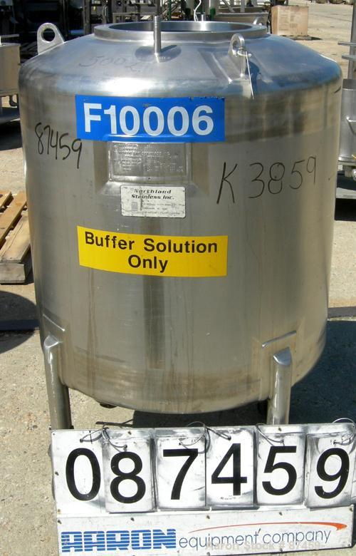 "Used- Northland Stainless Pressure Tank, 500 Liter (132 Gallon), 316 Stainless Steel, Vertical. 34"" Diameter x 32"" straight ..."