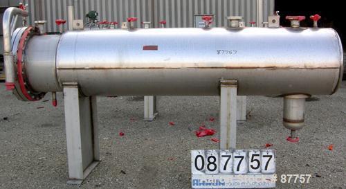 "Unused- Mueller Pressure Tank, 250 gallon, 304/304L stainless steel, horizontal. 24"" diameter x 124"" straight side. (1) End ..."