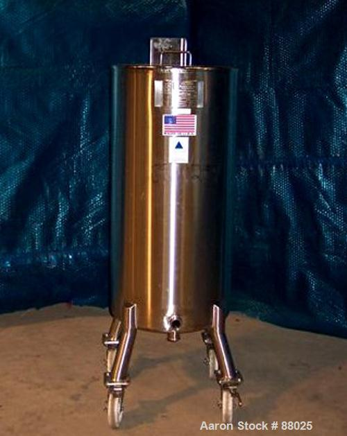 "USED: Precision Stainless Tank, 52 gallon, 316L stainless steel, vertical. 20"" diameter x 40"" straight side. Open top with 1..."