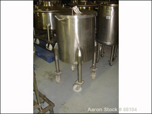 "USED: Tank, 60 gallon, stainless steel, vertical. 24"" diameter x 28"" straight side. Open top with cover, sloped bottom. 1"" o..."