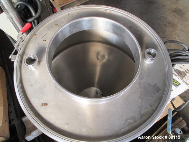 "Used- Tank, 20 Gallon, Stainless Steel, Vertical. 21"" Diameter x 11"" straight side x 12"" coned bottom, flat top. 1"" off cent..."
