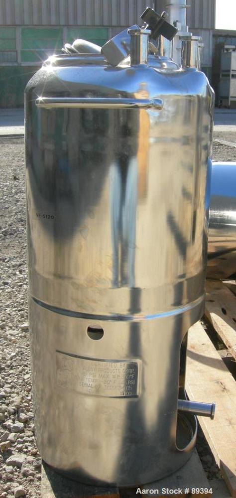 "Used- Alloy Products Pressure Tank, 5 Gallon, 316L Stainless Steel, Vertical. 9"" diameter x 10"" straight side. Dished top an..."