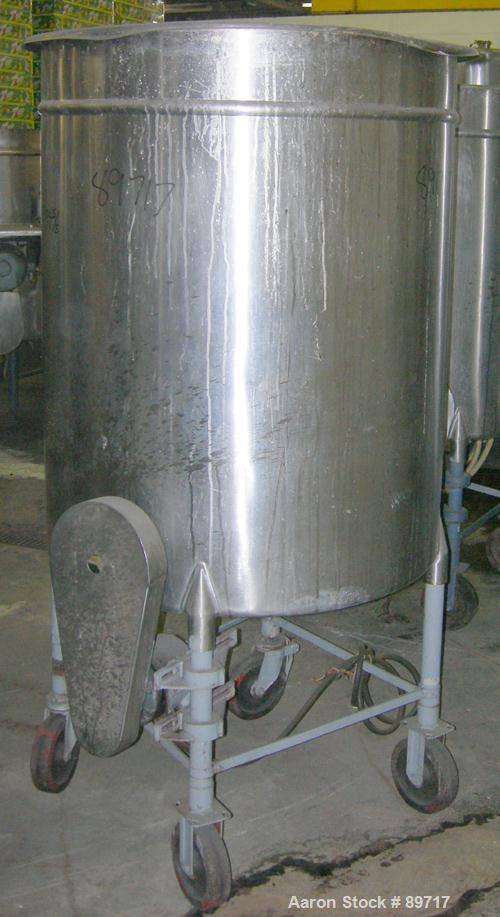 "USED: Tank, 225 gallon, 304 stainless steel, vertical. 38"" diameter x 48"" straight side, open top with cover, flat bottom. A..."
