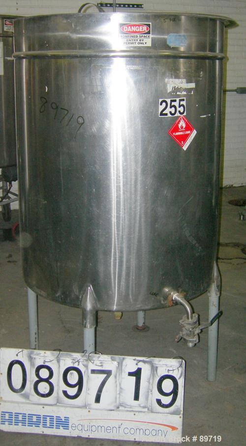 "USED: Filpaco tank, 225 gallon, 304 stainless steel, vertical. 38"" diameter x 48"" straight side, open top with cover, slight..."