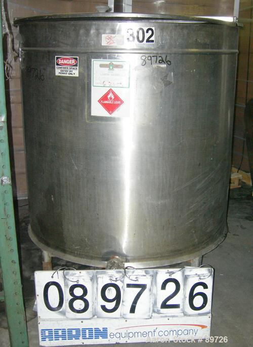 "Used- Tank, 340 Gallon, 304 Stainless Steel, Vertical. 48"" diameter x 44"" straight side, open top with a 2 piece cover, slop..."