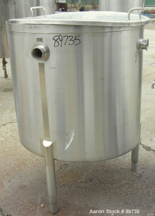 "USED: Tank, 150 gallon, 316 stainless steel, vertical. 36"" diameter x 35"" straight side, open top with cover, sloped bottom...."