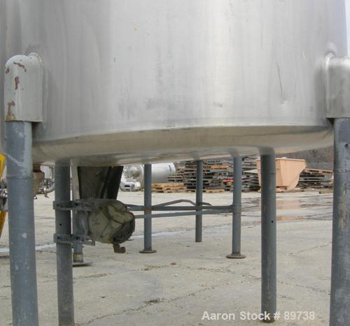 "USED: Tank, 300 gallon, 304 stainless steel, vertical. 42"" diameter x 51"" straight side, open top, no cover, sloped bottom. ..."