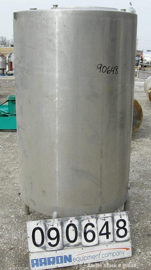"USED: Tank, 290 gallon, 304 stainless steel, vertical. Approximate38"" diameter x 60"" straight side. Flat top, sloped bottom...."
