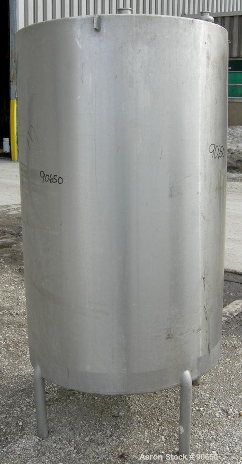 "USED: Tank, 290 gallon, 304 stainless steel, vertical. Approximate38"" diameer x 60"" straight side. Flat top, sloped bottom. ..."