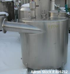 "Used-Sludge Tank, Approximate 320 Gallon, Stainless Steel. Approximate 48"" diameter x 40"" straight side, slight cone bottom."
