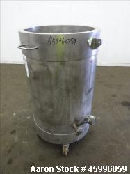 "Tank, Approximate 50 Gallon, 304 Stainless Steel, Jacketed, Vertical. 24"" Diameter x 27"" straight s..."
