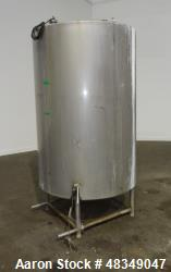 "Used- CIP Tank, Approximately 500 Gallons, 304 Stainless Steel, Vertical. Approximately 48"" diameter x 70"" straight side. Op..."