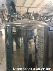 "Used- Lee Industries Polished Pressure Tank, Model 250DBT. 250 gallon, 316 stainless steel, vertical. 40"" diameter x 42"" str..."