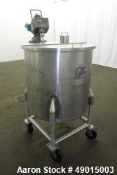 Used- Stainless Steel Mix Tank, Approximately 90 gallons, 304 Stainless Steel, V