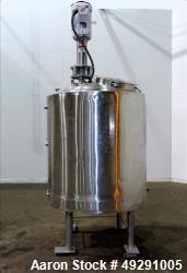 Used-Stainless Steel Jacketed Tank, approximately 300 gallons.  Vertical, Dished top, sloped bottom.  Off center top enterin...