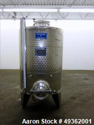 Used- Marchisio Tank, 1000 Liter / 264 gallon, Stainless steel. Dimple Jacketed. Closed top tank with manhole.