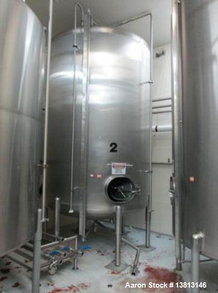 "Used-Cherry Burrell Stainless Steel Tank with 1.5 hp side agitator, 9'4"" straight wall, 84"" diameter, 12' overall length, do..."