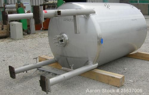 "Used- Stainless Fabrication Tank, 1,000 Gallon, 316L Stainless Steel, Vertical. 60"" diameter x 84"" straight side, dished top..."