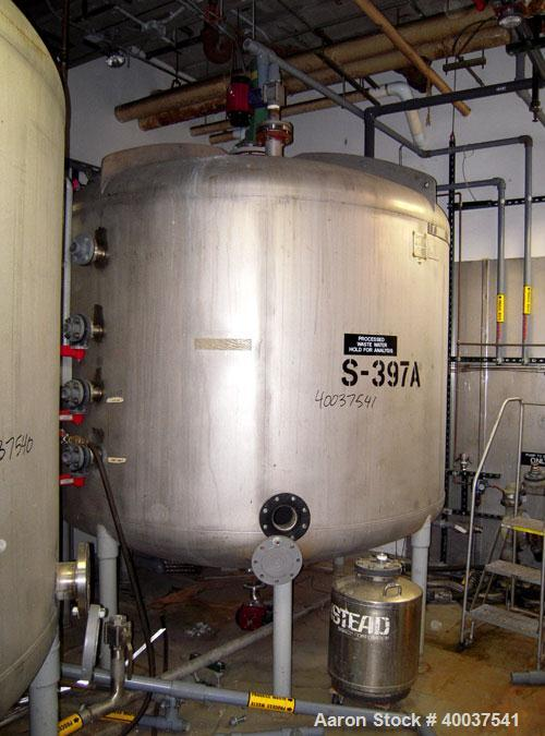 "Used- Mueller tank, 2200 gallon, stainless steel, vertical. Approximately 96"" diameter x 63"" straight side, dished top and b..."