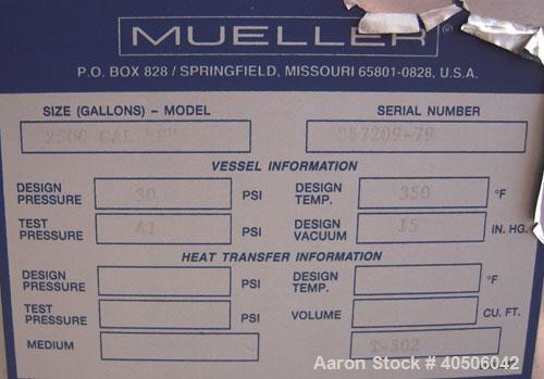 "Unused- Mueller Pressure Tank, 2500 Gallon, Model ""F"", 304L stainless steel, vertical. 72"" diameter x 144"" straight side, di..."