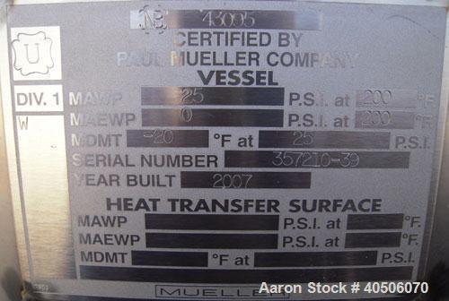 "Unused- Mueller Coalescer Pressure Tank, 1600 Gallon, Model ""H"", 304L atainless steel, horizontal. 48"" diameter x 204"" strai..."